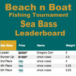 LBI Charters Leads Sea Bass Tournament